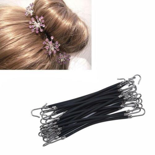 20pcs Ponytail Hooks Holder Bungee Band Rubber Bands Hooks Hair Styling Tool LA