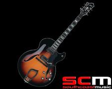 Hagstrom HJ8003SB 3 Tone Sunburst Finish Jazz Full Hollow Body Electric Guitar
