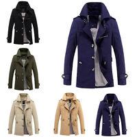 Men'S Winter Warm Fleece Single Breasted Trench Coat Jacket Overcoat Outwear Top