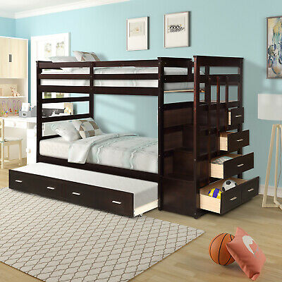 Wood Bunk Bed Kids Wooden Twin Over Twin Bunk Beds With