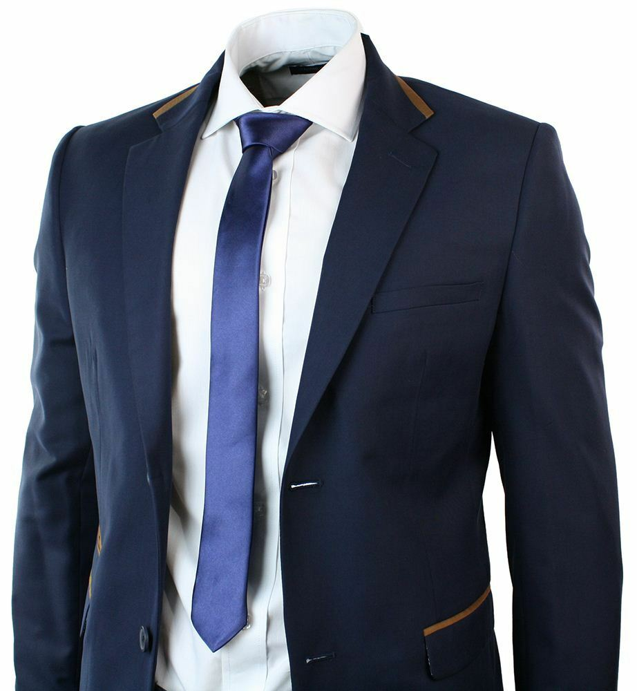 Mens 2 Button Fitted Navy bluee Suit Brown Trim Blazer Trouser Formal Occasional