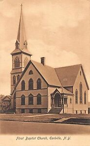 Earlville New York First Baptist Church Antique Postcard (J32880)