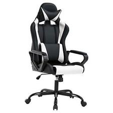 High Back Gaming Chair Pc Office Chair Racing Computer Chair Task Pu Desk White