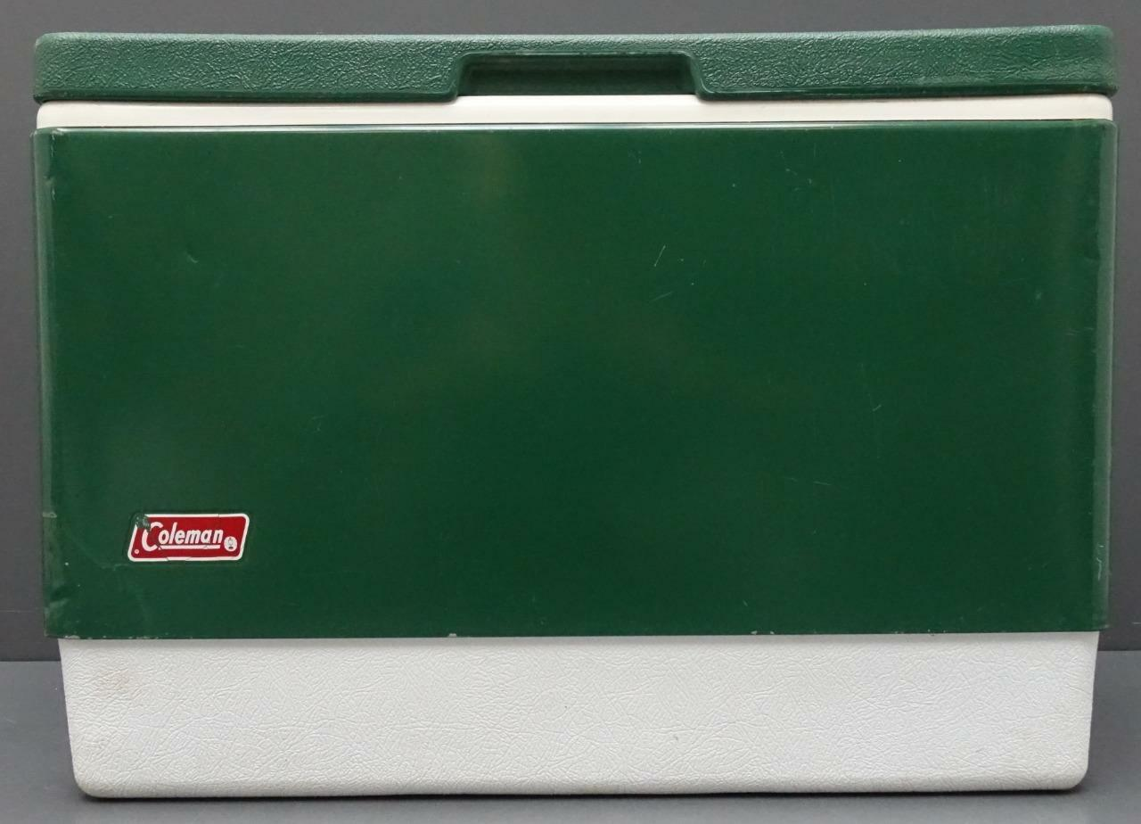 Coleman Green Metal White Plastic Cooler Camping Picnic Ice Chest 22x16x13
