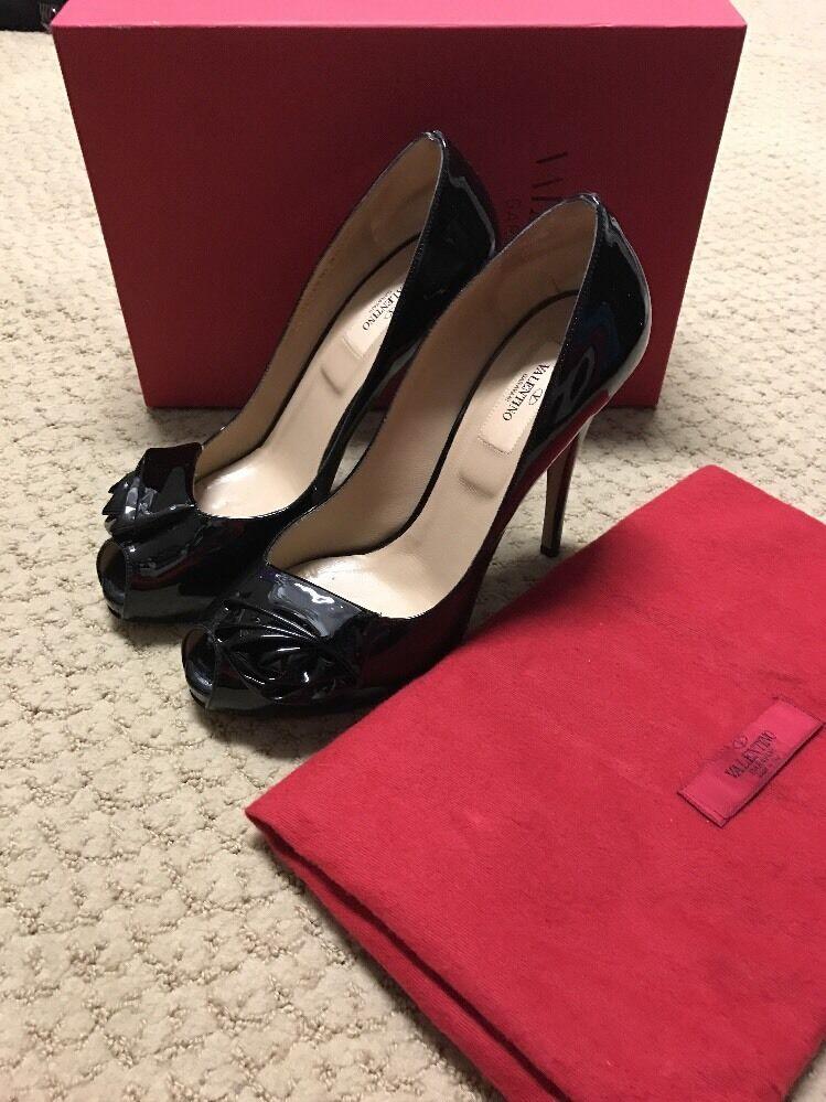 Para mujer Negro Negro Negro Patente Peep Toe Valentino Tacones Zapatos Talla 40  servicio de primera clase