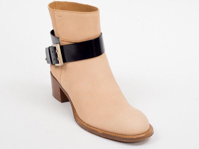 Nueva moda de piel beige Chloe-al tobillo Botines Talla 37.5 EE. UU. 7.5 al por menor