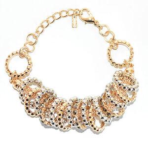 BRACCIALE donna oro anelli argento cristalli pulsera bracelet браслет armband 72