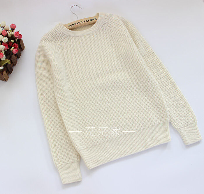 100% cashmere Knit long sleeves Top, jumper, pearl Weiß, s