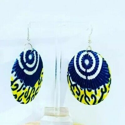 African Print//Ankara fabric large wooden earrings