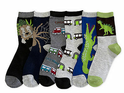 6 Pairs Boys Computer Socks 4T 5T Size 4-6 Assorted Dino Crocodile Spider Trucks