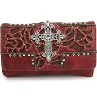 Western Cowgirl Luxurious Wristlet Wallet With Long Strap Cross Small Purse Red