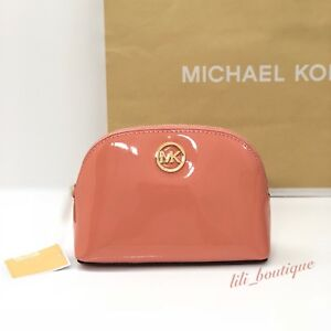 Details zu NWT Michael Kors Jet Set Travel Pouch Cosmetic Case Bag Patent Leather Tulip $98