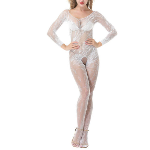Women Lingerie Bodysuit Long Sleeve Hollow Out Crotchless Stretchy BodystockinYF