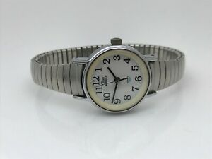 Timex-Indiglo-Ladies-Watch-Silver-Tone-Stretched-Metal-Band-Analog-Wrist-Watch