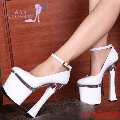 Womens Nightclub Platform Super High Heels Ankle Strap Mary Jane Shoes Plus Size