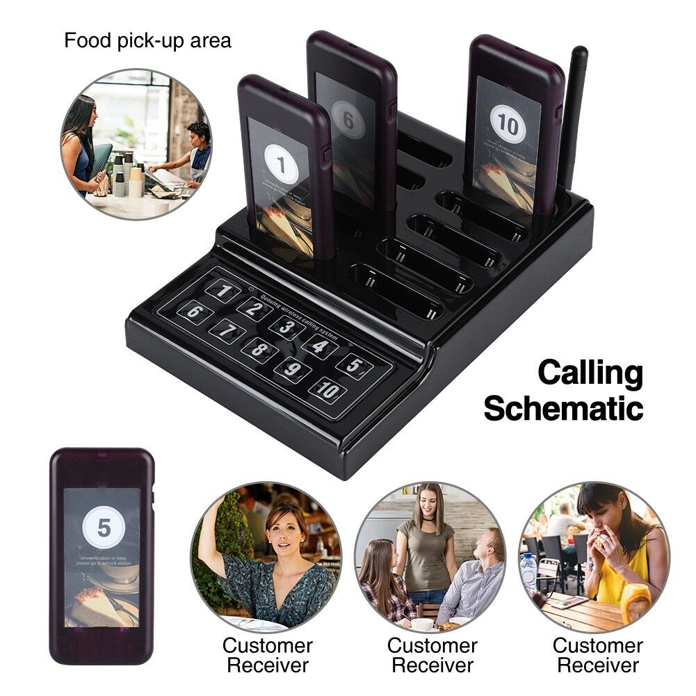 Wireless Paging Calling Keypad System 10Pcs Guest Coaster Pagers For Restaurant 2