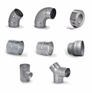 Steel ventilation fitting for extractor fans elbow - Bathroom exhaust fan duct reducer ...