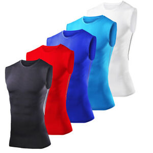 Mens-Compression-Base-Layer-Shirts-Sleeveless-Muscle-Shirt-Bodybuilding-Gym-Vest