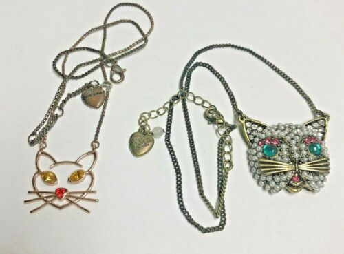 BETSEY JOHNSON Pair of CAT Necklaces