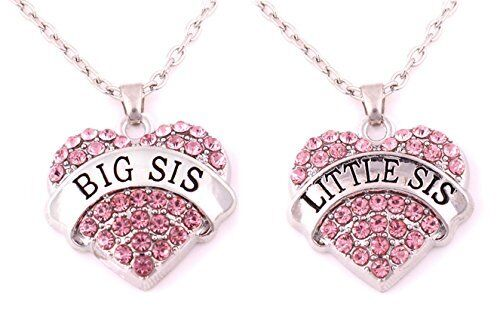 Crystal Heart Necklaces Set Pendant Matching Sister Jewelry Pink Kids Girl Gift