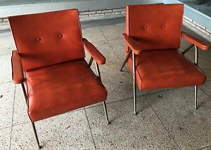 Image Is Loading VTG 1960 Mid Century Modern Pr Arm Chairs