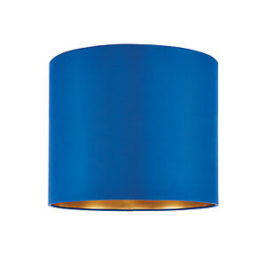 Endon-Boutique-pantalla-de-lampara-30-5cm-Azul-medianoche-seda-oro-cepillado