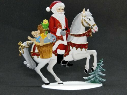 """4.75/""""x 4.5/"""" ARTIST WILHELM SCHWEIZER GERMAN ZINNFIGUREN Santa on Horse"""