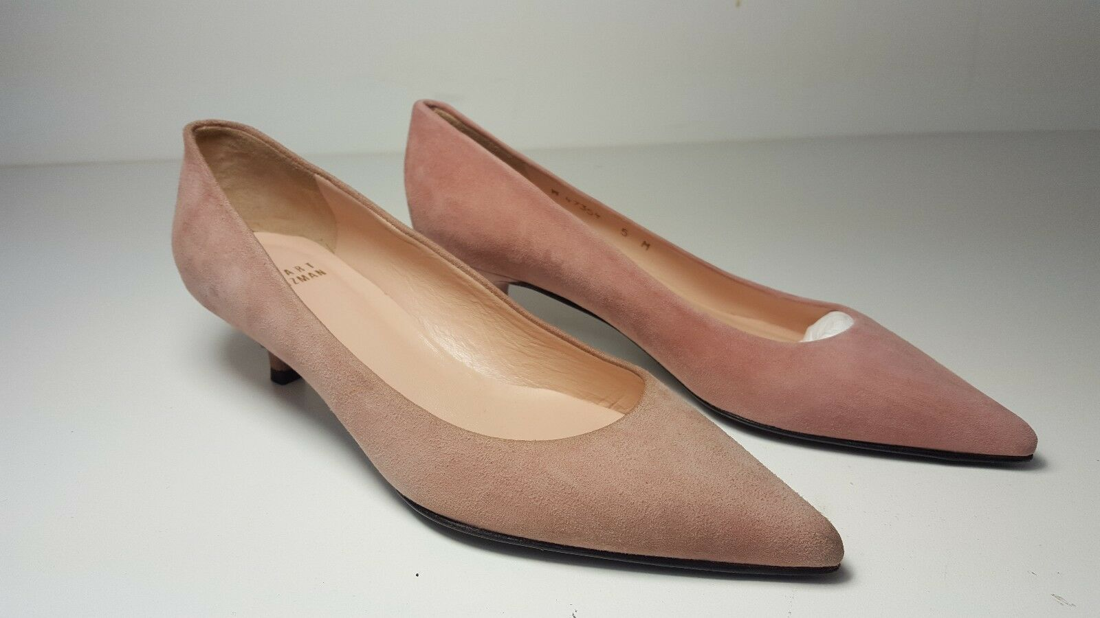 335 Größe 5 Stuart Weitzman Poco Old Rose Suede Low Heels Pumps Dress Schuhes