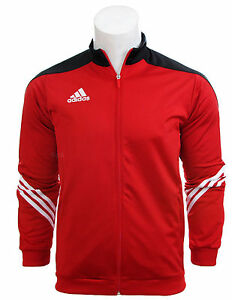 Adidas Full Mens Tracksuit Zip Jogging Top Bottoms 3 Stripe Red Size ... 29a0401ed09