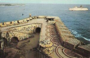 Postcard-Cruise-Ship-El-Morro-039-s-Santa-Barbara-Battery-San-Juan-Puerto-Rico