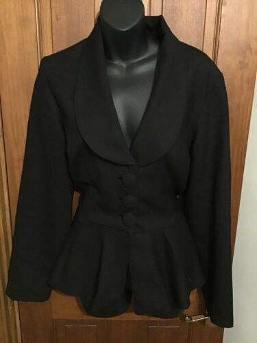 Bustle L Fitted Designer Bnwt Jacket Pure Wool Black Pn4ZaU
