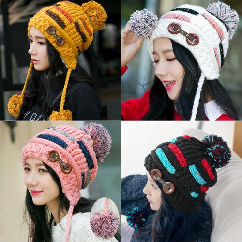 54145fef68d Details about Women Winter Warm Braided Crochet Wool Knit Hat Girl Beret  Ski Beanie Ball Cap H