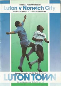 Football-Programme-Luton-Town-v-Norwich-City-Div-1-5-12-1987