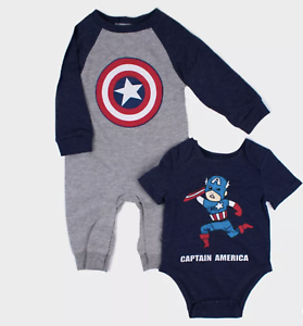 Baby Boys/' Disney Marvel Captain America 2pk Long Sleeve Romper and Short Sleeve