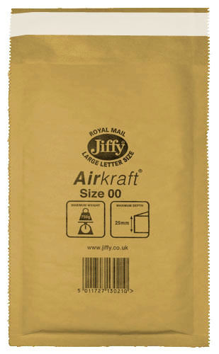 100 Small Gold Jiffy Bubble Lined Bags Envelopes JL00 115mm x 195mm