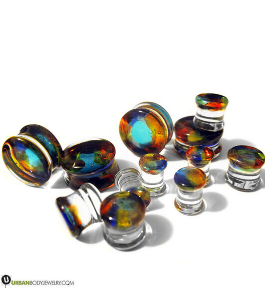 """Exotic Dichroic Glass Ear Plugs - Sizes / Gauges  2G - 3/4""""  NEW!"""