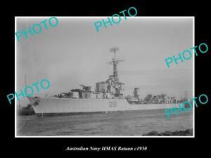 OLD-LARGE-HISTORIC-AUSTRALIAN-NAVY-PHOTO-OF-THE-HMAS-BATAAN-SHIP-c1950