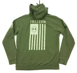 Under Armour Freedom Flag Military Green Fleece Pullover Hoodie Sweatshirt Large
