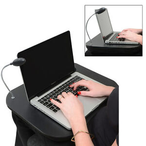 BLACK-PORTABLE-LAP-DESK-amp-READING-LIGHT-LAPTOP-LAP-TRAY