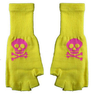 New-Gothic-Goth-Punk-Rock-80s-Japan-Hot-Pink-Skull-Yellow-Fingerless-Knit-Gloves