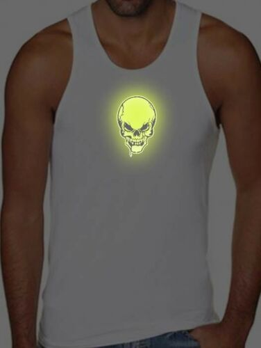 New For Mens Printed Skull Glows in the Dark MMA Funny HIP HOP Tank Top All size