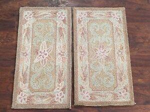 1-NR-2-1X2-Hand-Hooked-Rugs-Set-Small-Oriental-Wool-Carpet-Lot-Pair-1-2-x-2-1