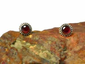 GARNET-Gemstone-Sterling-Silver-925-Earrings-STUDS-5-mm