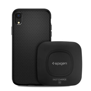 iPhone-X-XS-XS-MAX-XR-Bundle-Spigen-Clear-or-Black-Case-Wireless-Charger