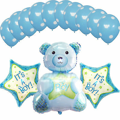 Baby Shower Party Supplies Blue Decorations Foil Balloons It's a Boy Teddy Bear