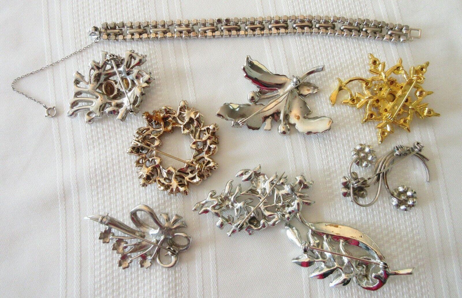 Lot Vintage Costume Jewelry Rhinestone Marcasite … - image 4