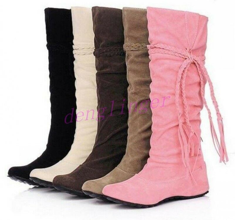 2016 Womens Suede Shoes Tassel Hidden Wedge Slouch Knee High Boots Plus Size Hot