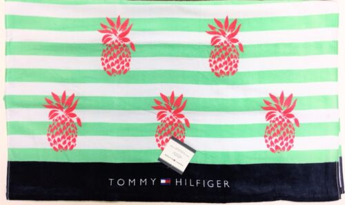 """TOMMY HILFIGER WHITE+NAVY BLUE,GREEN STRIPES PINK PINEAPPLE-BEACH TOWEL 35/""""x66/"""""""