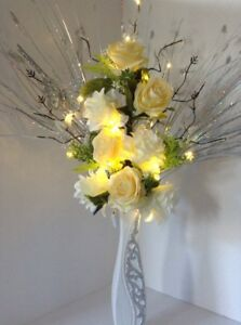 Artificial silk flower arrangement white yellow flowers glitter image is loading artificial silk flower arrangement white amp yellow flowers mightylinksfo