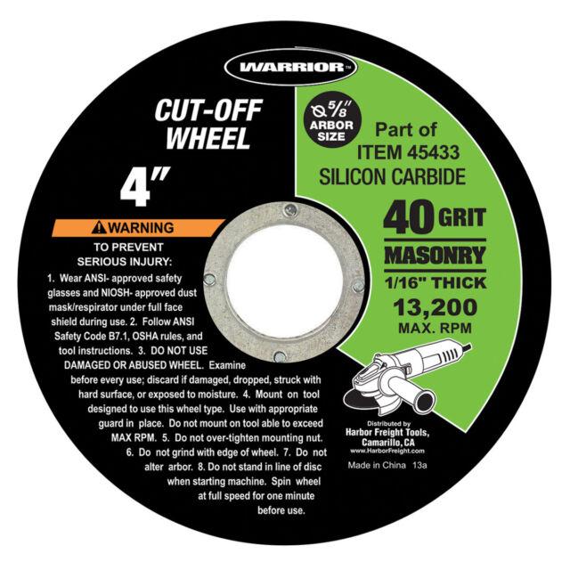 10 WARRIOR 4-1//2 In 13,300 RPM Max Aluminum Oxide 40 Grit Metal Cut-Off Wheels